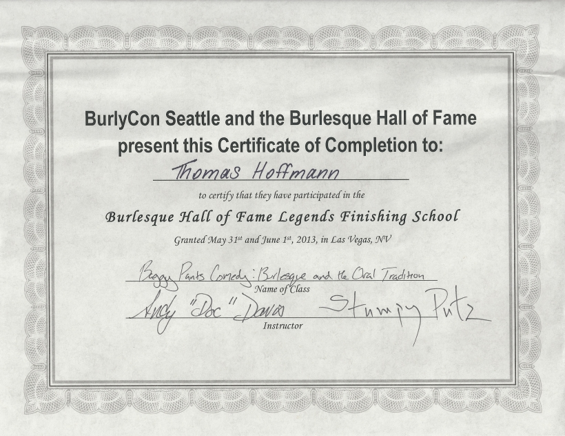 Burlesque Zertifikat - Burlesque Hall of Fame Finishing School - Las Vegas - 2013